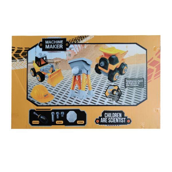Bộ đồ chơi lắp ráp Vecto DIY - Xe ủi, xe ben kèm theo nón và