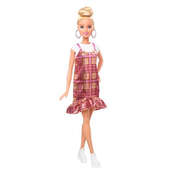 Búp bê thời trang - Blonde Updo Hair & Shimmery Plaid Dress