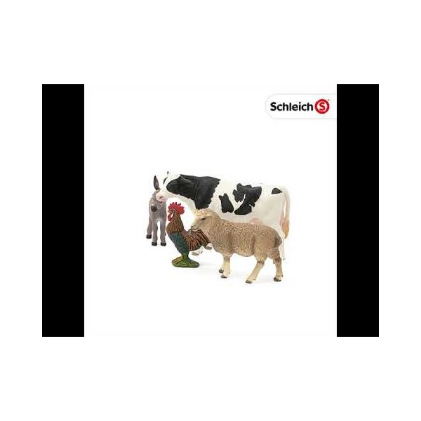 Bộ mô hình động vật Nông trại  (Bò sữa, Cừu, Gà trống, Lừa)