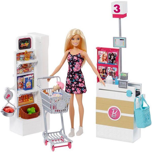 Búp bê Barbie mua sắm tại siêu thị